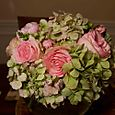Antique Green Hydrangea & pink Roses