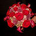 red rose, allium, and hydrangea