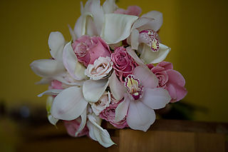 Cymbidium orchid and rose bouquet