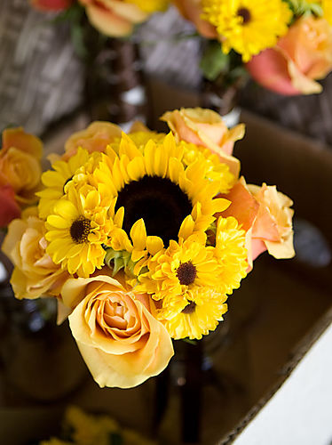 Sunflower and cherry brandy bridesmaids bouquet 1 of 1