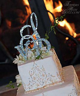 crystal monogrammed cake topper