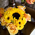 Sunflower and cherry brandy bridesmaids bouquet (1 of 1)