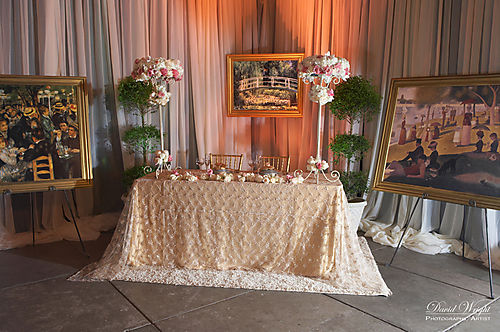champagne, cream, white, and pink flower arrangements for monet theme