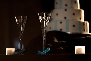 Tiffany Blue ribbon and toasting glases
