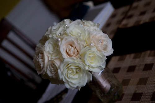 white and cream bouquet with diamond and pearl accents