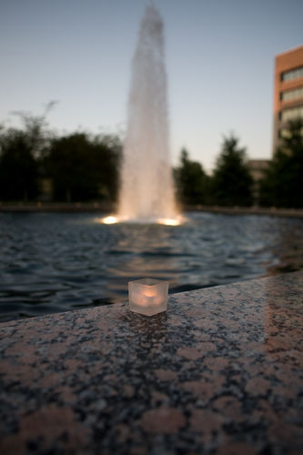 candles around the fountain