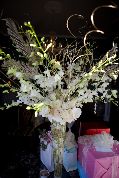 orchids and rose pilsner vase