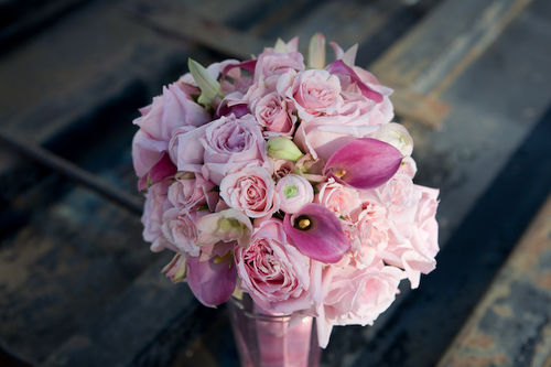 pink rose, calla lily, and ranunculus bouquet