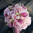 Pink Bouquet with roses, calla lily, and orchid