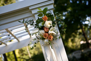 gazebo with peach and cream roses