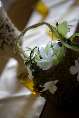 cymbidum orchid and dendrobium flower girl basket