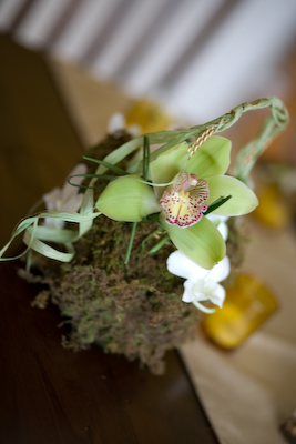 moss and orchid flower girl basket