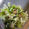 A Top View of the Cymbidium orchid and Dendrobium Bouquet