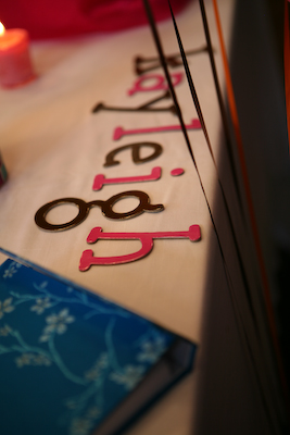 die-cut letters on table