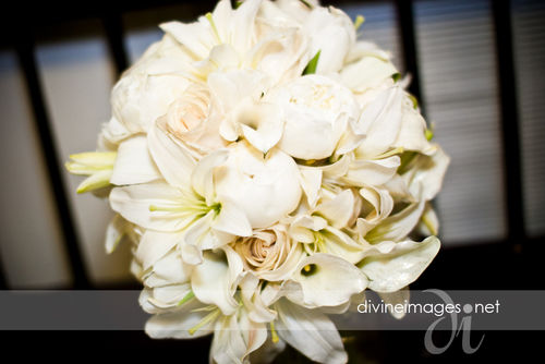 peony, rose, and lily bouquet