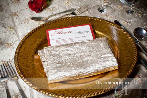 Each menu card was placed within a gold napkin and then upon a crackled gold