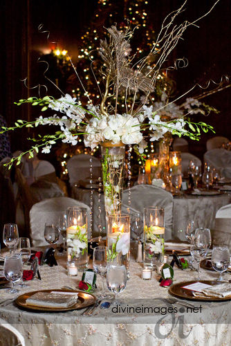 Orchid and rose centerpiece