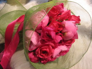 peony and red rose bouquet