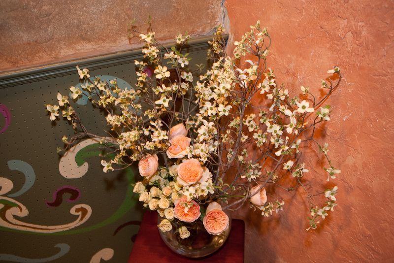 Dogwood and garden rose arrangement