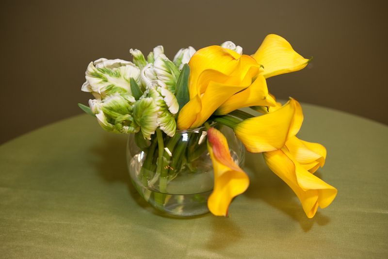 Calla lily and tulip centerpiece