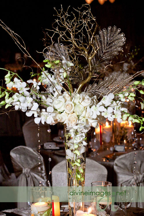 Centerpieces amp Event Design White Orchid And Rose Arrangement