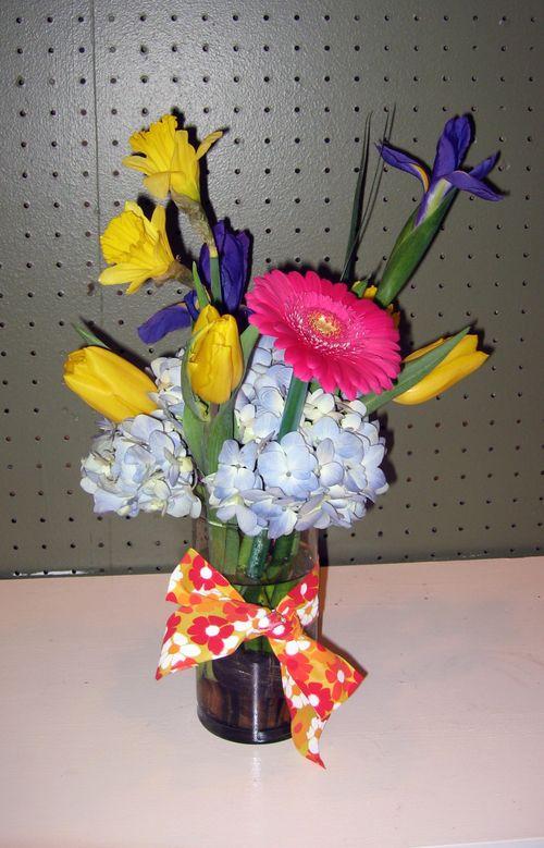 Daffodil, iris, and hydrangea