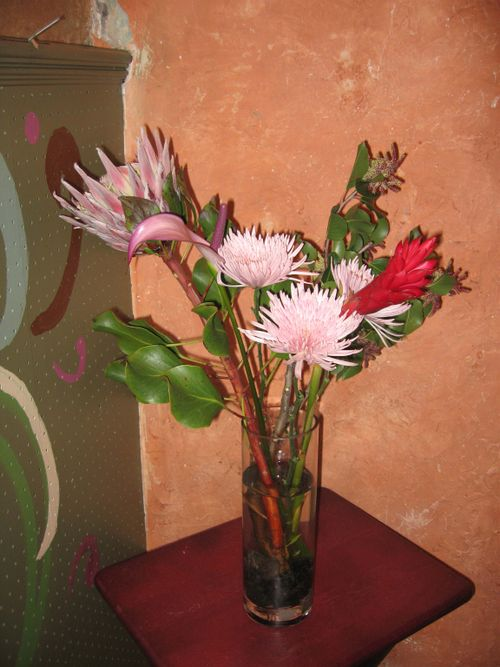 Ginger, spider mum, and king protea