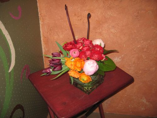 Rose, peony, and tulip