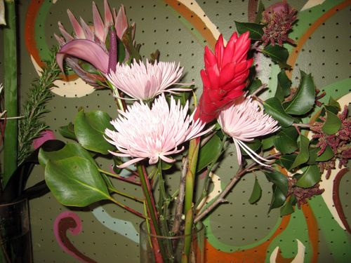 Spider mum, king protea, and tulip anthurium