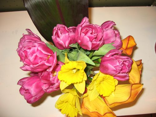 Top view of parrot tulips, daffodil, and dark aspiridia leaf